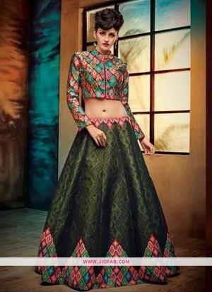 Benglori Silk Green Anarkali Lehenga And Chaniya Choli