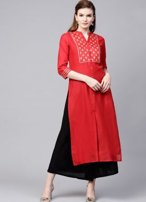 Best Designer Red Silk Blend Kurti Collection For Womens