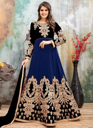 Black And Dark Blue Embroidered Aanaya Partywear Salwar Suit