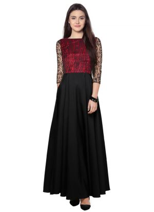 Black And Maroon Western Gown Outfit