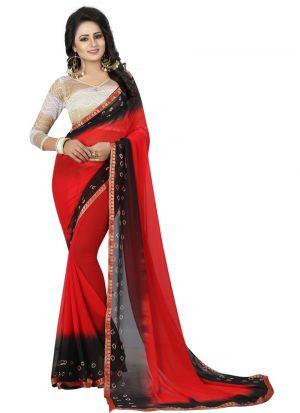 Black And Red Chiffon Daily Use Bandhani Saree