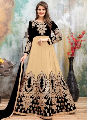 Black And Skin Embroidered Aanaya Designer Salwar Suit