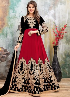 Black Andcherry Red Embroidered Aanaya Designer Punjabi Suit