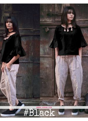 Black Charkha Khadhi Top with Pant