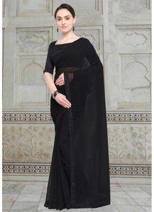 Black Chiffon Stylish Designer Party Wear Fancy Saree