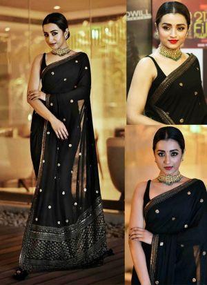 Black Color Bollywood Style Designer Saree