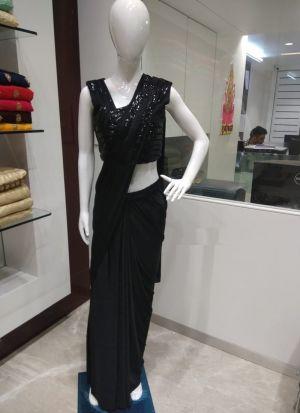 Black Color Designer Party Wear Readymade Ruffle Saree