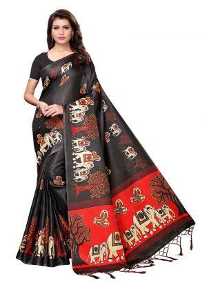 Black Color Khadi Silk Printed Tradional Saree
