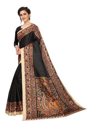 Black Color Khadi Silk Saree With Printed Work