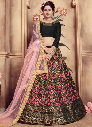 Black Color Multi Rubber Foil Work Silk Designer Lehenga Choli