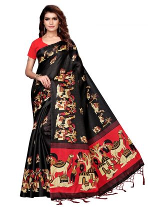 Black Color Printed Saree With Khadi Silk Fabric