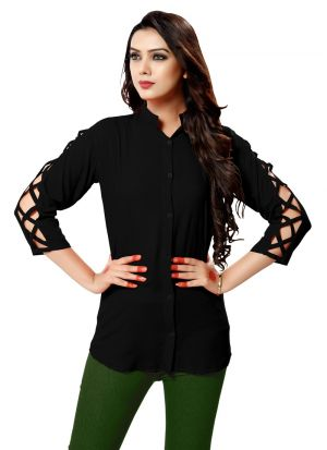 Black Color Rayon New Trend Shirt