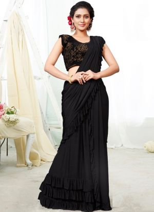 Black Color Top Style Of Ready To Wear Ruffle Saree
