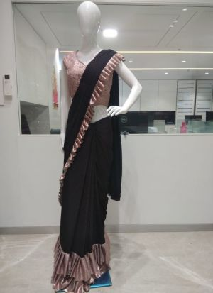 Black Colour Ready To Wear Party Wear Ruffle Saree