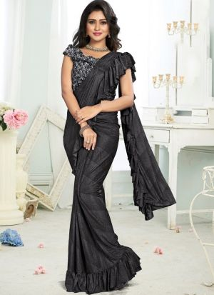 Black Colour Top Styles Of Ready To Wear Ruffle Saree