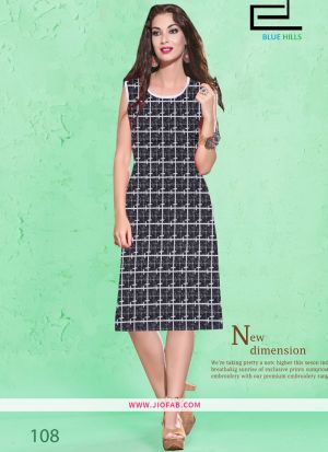Black Cotton Fabric Stitched Summer Kurti Collection