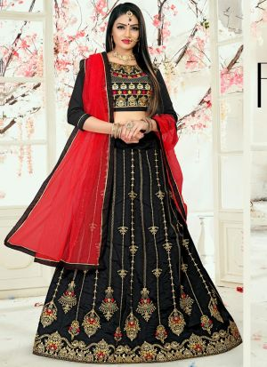 Black Designer Wedding Lehenga Choli With Taffeta Silk Fabric