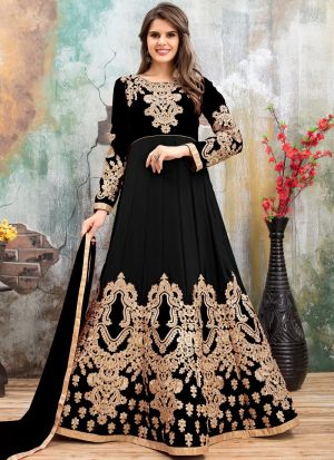 Black Embroidered Aanaya Punjabi Suit