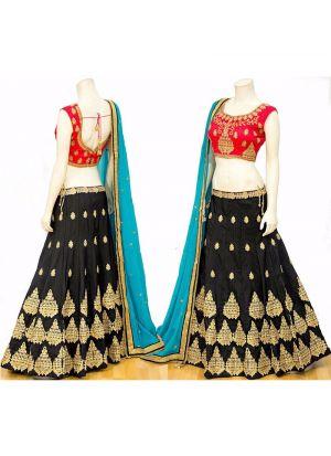 Black Embroidered Stone Work Chennai silk Fabric Festival Anarkali Lehenga With Chiffon Silk Dupatta