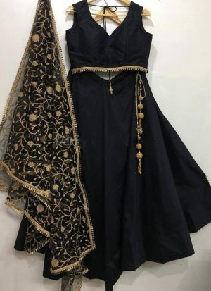 Black Festive Wear Thread Work Lehenga