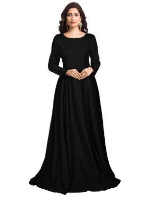 Black Full Sleeve One Piece Western Gown
