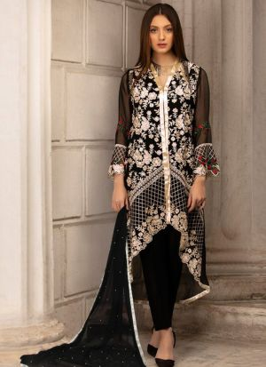 Black Georgette Embroidered Pakistani Suit