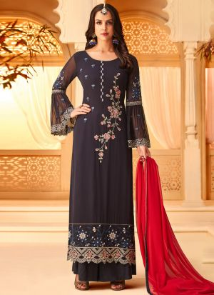 Black Georgette Embroidered Staraight Pakistani Salwar Kameez