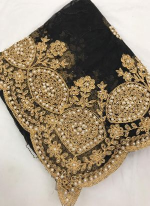 Black Heavy Net Saree With Beautiful Blouse