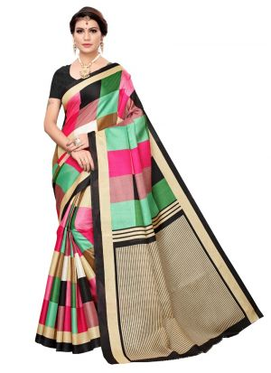 Black Khadi Silk Classic Saree With Printed Work
