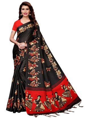 Black Khadi Silk Printed Classic Saree