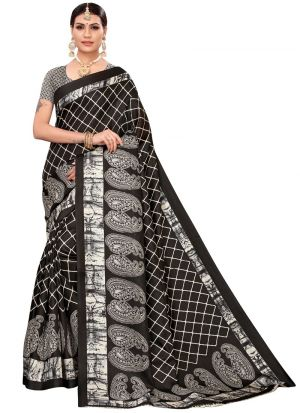 Black Khadi Silk Printed Tradional Saree