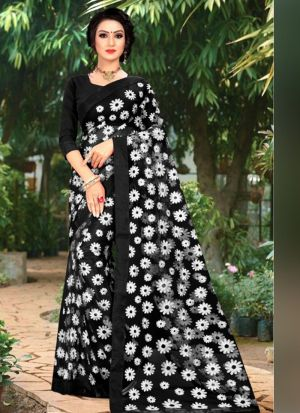 Black New Launching Butterfly Mono Net Bollywood Celebrity Saree