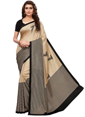 Black Printed Malgudi Silk Saree