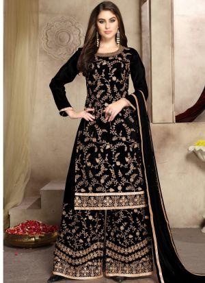 Black Pure Viscose Upada Silk Designer Palazzo Style Salwar Suit