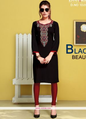 Black Rayon Embroidered Heavy Designer kurti