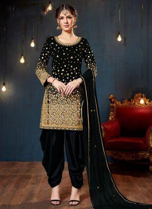 Black Taffeta Silk Eid Collection Salwar Suit