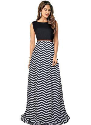 Black Taffeta Western Style Gown