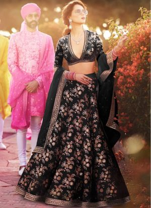 Black Thai Silk Designer Lehenga Choli For Engagement