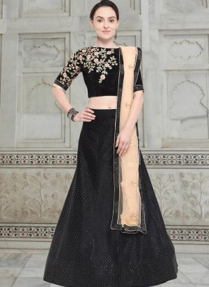 Black Velvet Party Wear Lehenga Choli