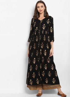 Black Viscose Rayon Designer Long Kurti For Summer