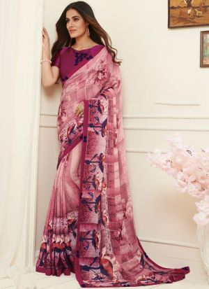 Blissful Pink Georgette Saree For Function Wear