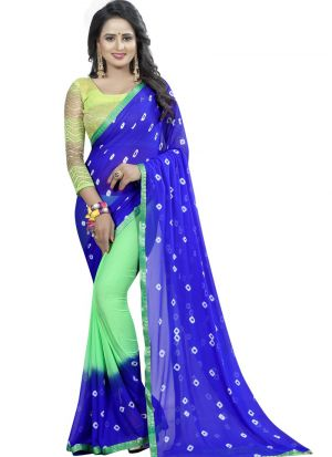 Blue And Green Chiffon Saree With Blouse