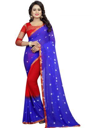 Blue And Red Chiffon Designer Bandhani Saree