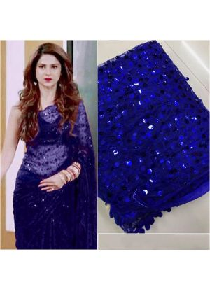 Blue Color New Launching Superhit Jennifer Winget Saree Special Edition