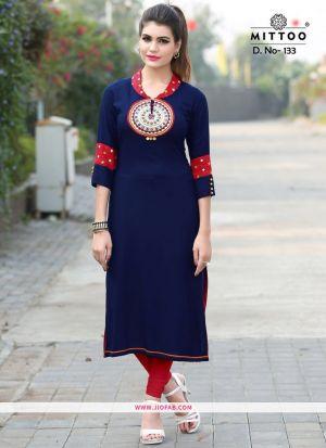 Blue Color Rayon Printed Heavy Designer kurti