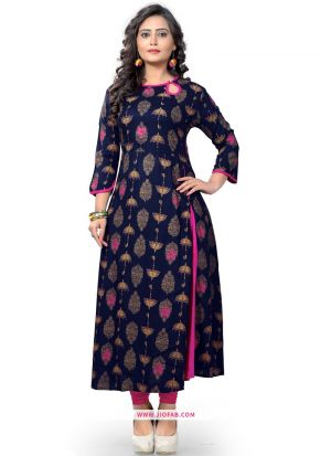 Blue Color Regular Casual Wear Ethnic Kurti