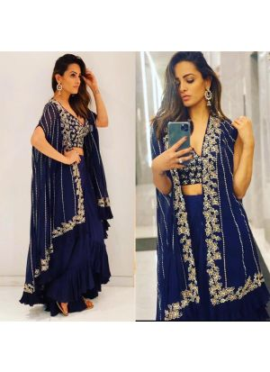 Blue Color Shrug Lehenga Choli