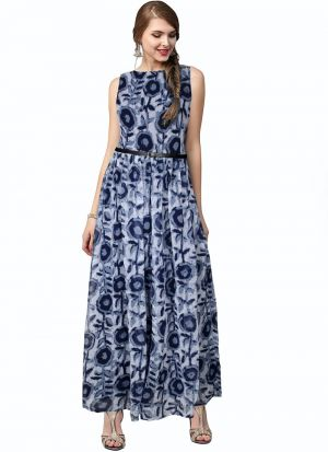 Blue Color Women And Girls Sleevless Western Gown