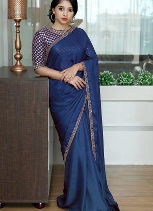 Blue Colored Two Tone Silk Fancy Thread Work Saree