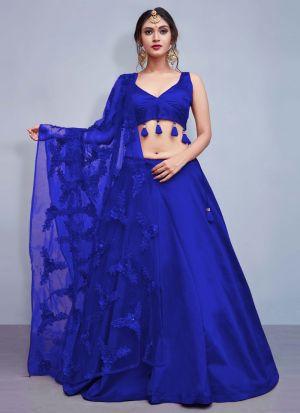 Blue Colour Tafetta Silk Volume 8 Bride Maids Lehenga Choli